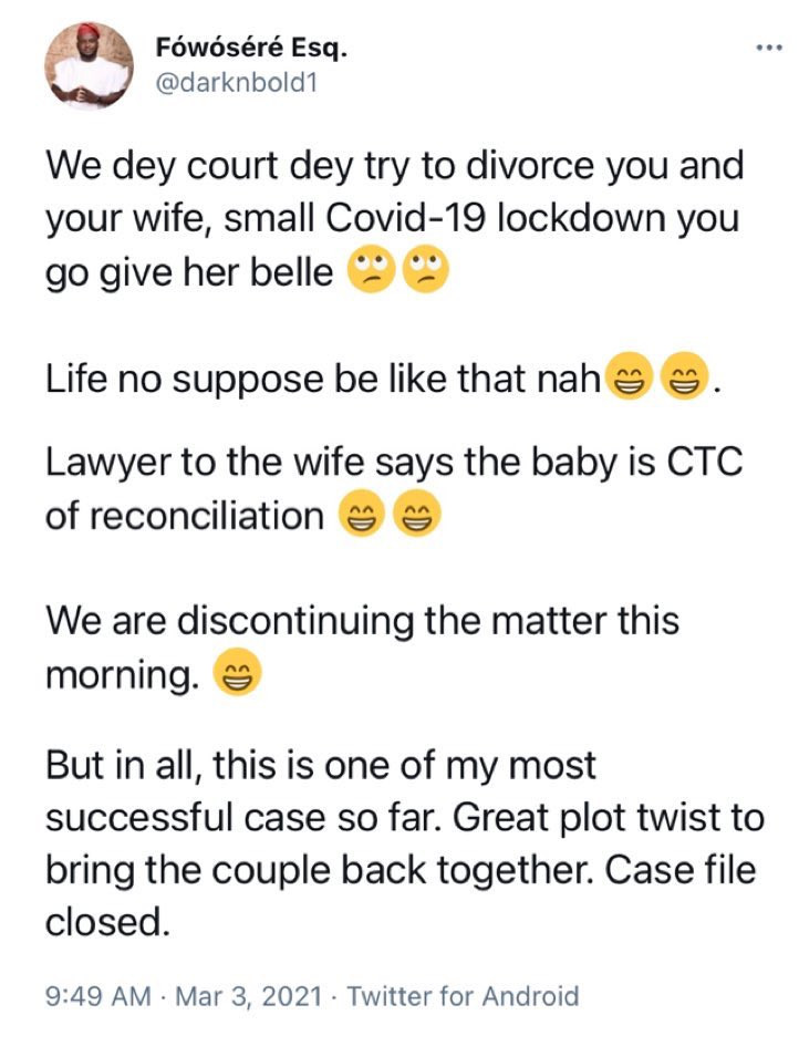 Lawyer terminated divorce case as the after the husband impregnated his wife during COVID19 lockdown