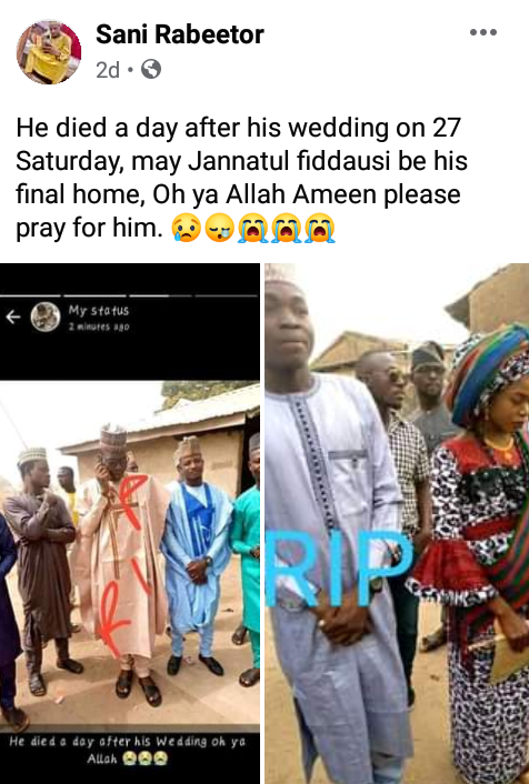 Nigerian man dies a day after his wedding
