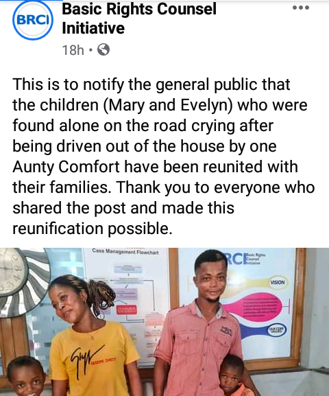 Update: Two children reunited with their families after they were thrown out by their aunt in Calabar