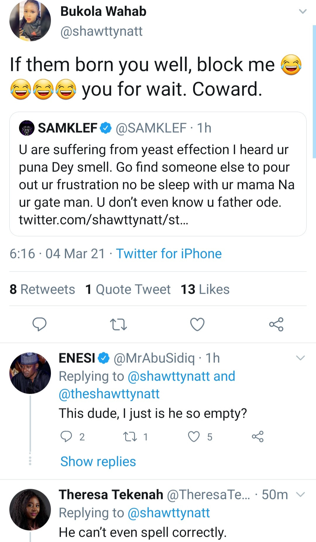 Samklef drags his followers who criticized him for his tweets about the state of Nigeria