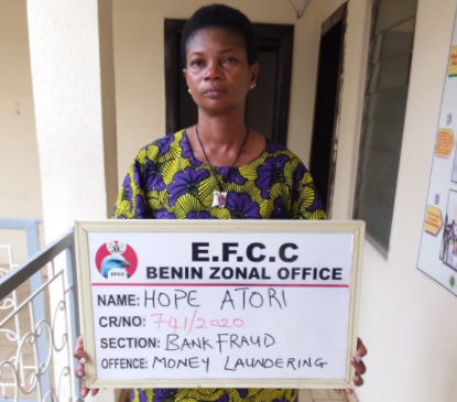 EFCC arraigns lady in court for allegedly using her bank account to receive over N6million of illicit fund