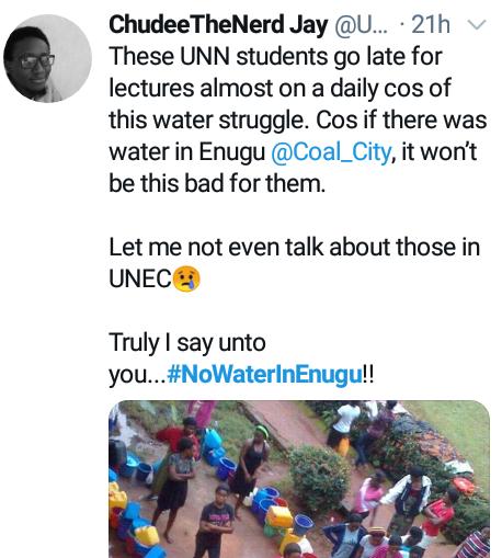 "#NoWaterInEnugu: ""I am in tears""- Residents groan on Twitter as acute water scarcity hits Enugu"