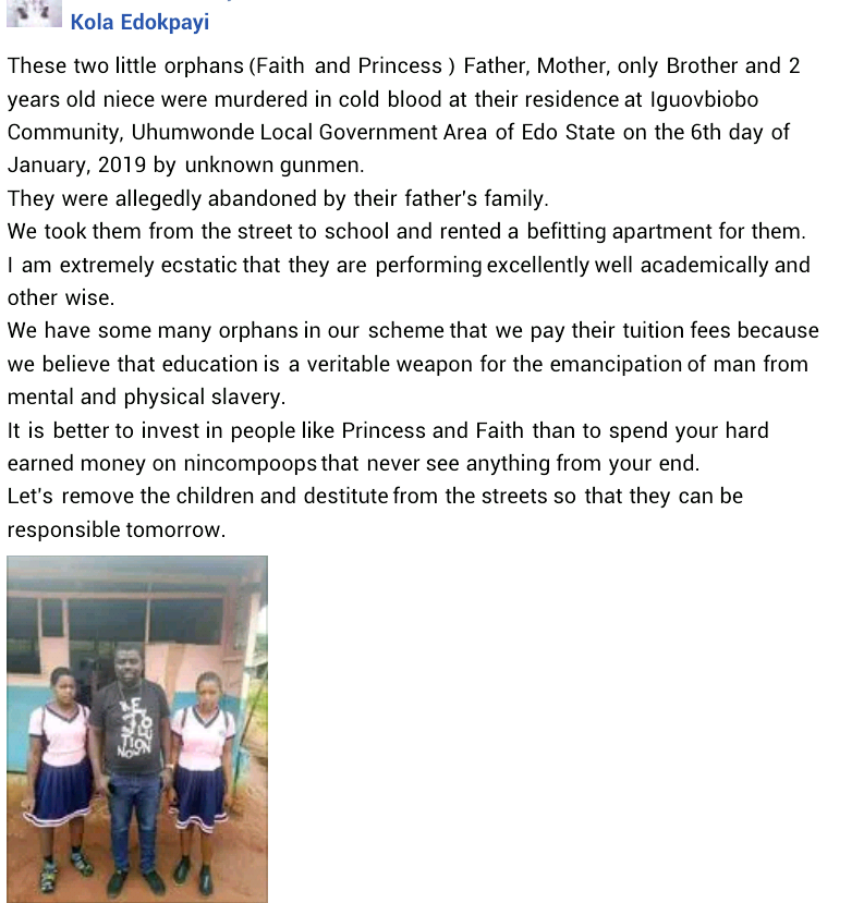 Two young sisters allegedly abandoned by relatives after the brutal murder of their parents, brother and 2-year-old niece in Edo