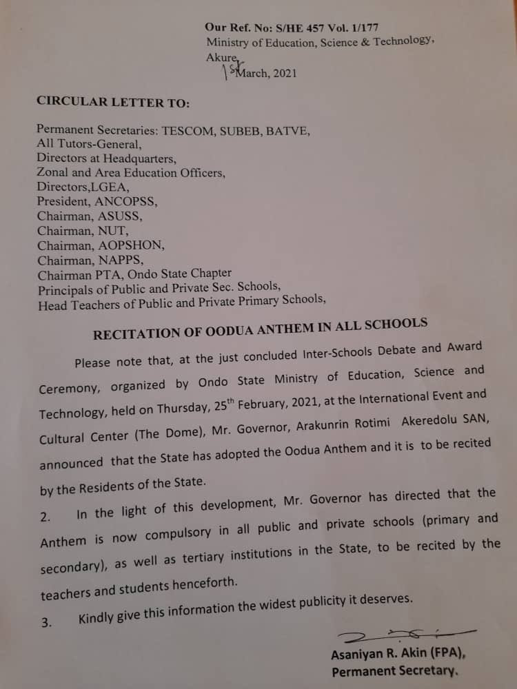 Governor Akeredolu orders compulsory recitation of Oodua anthem in all schools in Ondo state