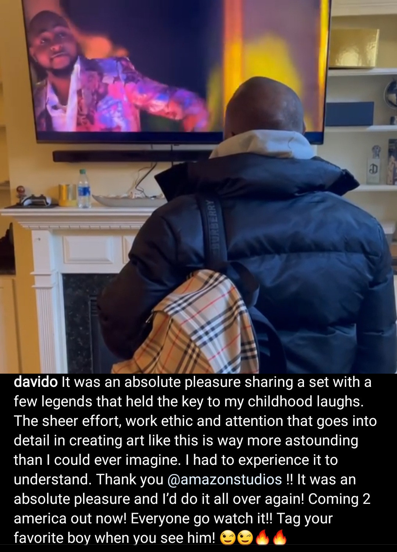 Davido filmed watching himself in Coming 2 America  (video)