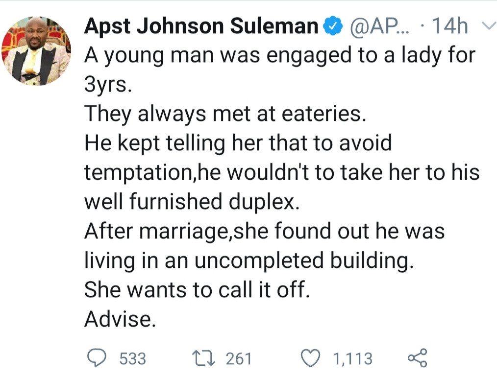 """Newly married woman finds out her husband who refused to take her to his """"duplex to avoid temptation"""" lives in an uncompleted building"""