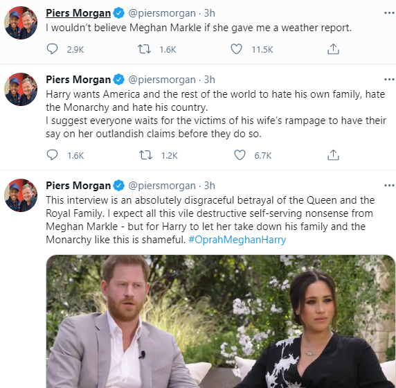 """This interview is an absolutely disgraceful betrayal of the Queen and the Royal Family"" Piers Morgan slams Meghan Markle and Prince Harry for Oprah Winfrey interview"