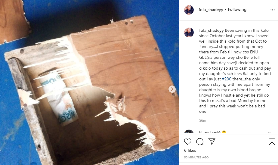 Nigerian lady calls out her brother who broke into her piggy bank to steal her money