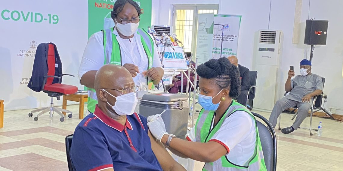 Nigerian Govt. Ministers take COVID19 vaccine on Live TV