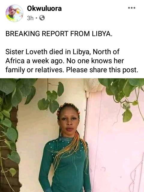 Young Nigerian woman dies under unknown circumstances in Libya