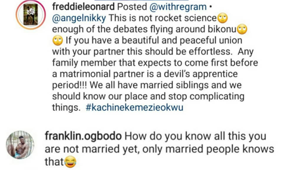 Actor Freddie Leonard responds to follower who questioned his capacity as a single person to give marital advice