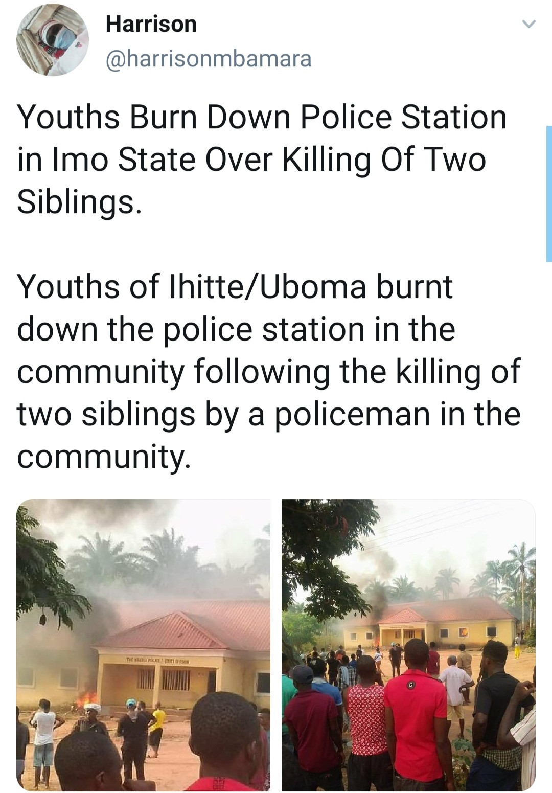 Youths burn down Imo police station after a Nigerian policeman allegedly killed two siblings (video)