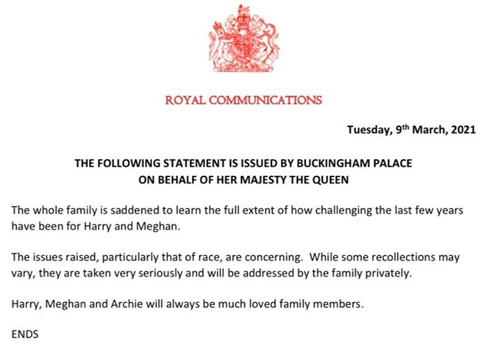 The British Royal family reacts to Meghan Markle and Prince Harry's interview with Oprah Winfrey