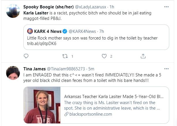 A teacher forces a black kid to wash the toilet with his bare hands