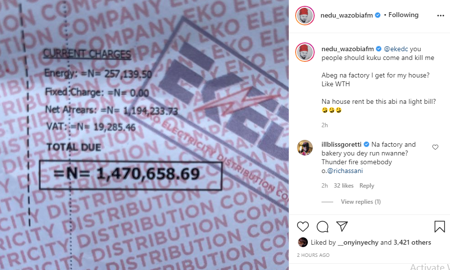 OAP Nedu cries out after being served a N1.4m electricity bill