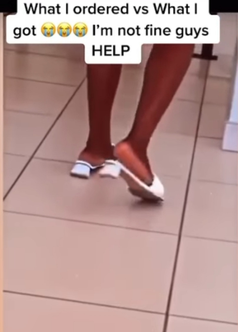 Woman in tears as she shares the shoes she ordered and what was delivered