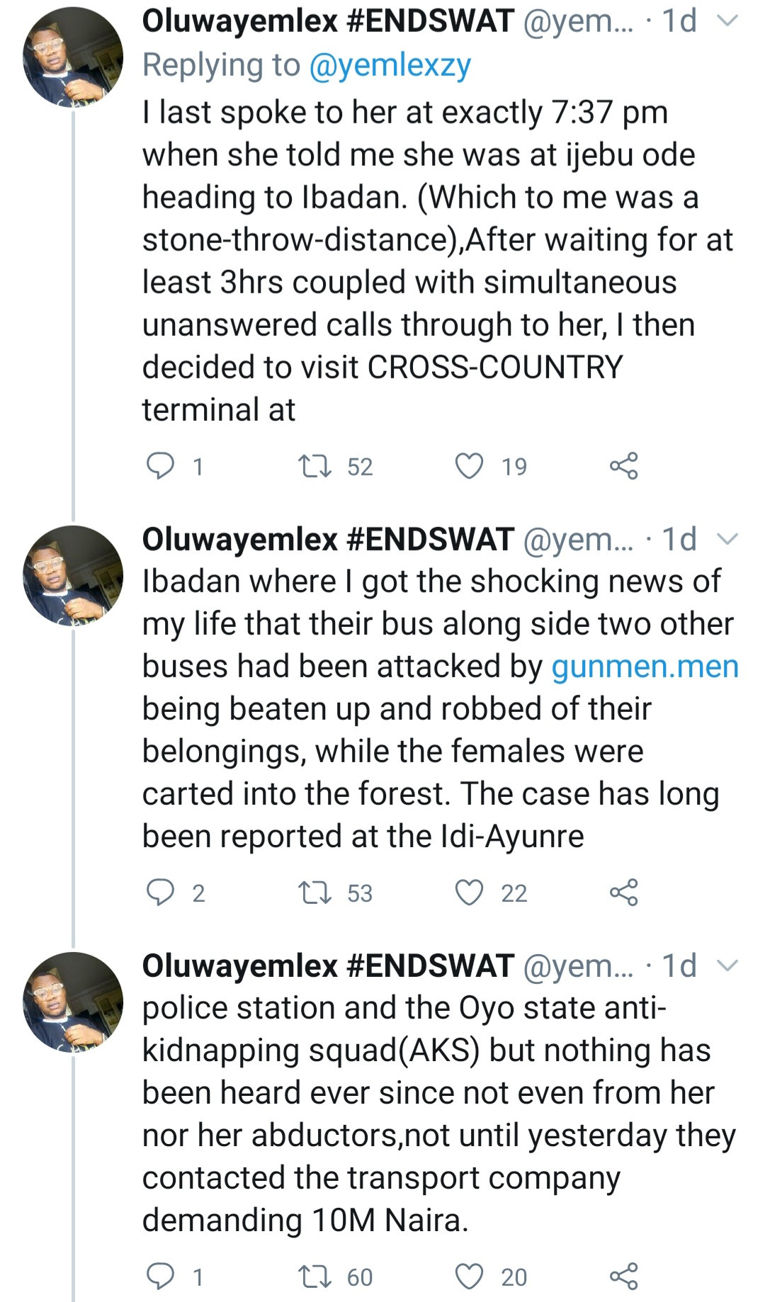 "Man cries out as his fianc?e and other female passengers are kidnapped by ""criminal herders"" between Ijebu ode and Ibadan"