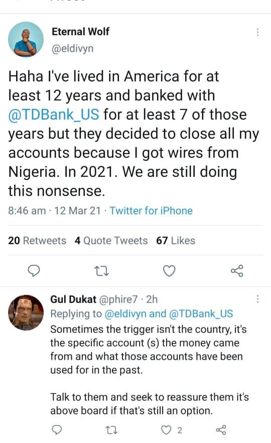 US-based Nigerian man calls out his bank in America after his accounts were closed because he received transfers from Nigeria