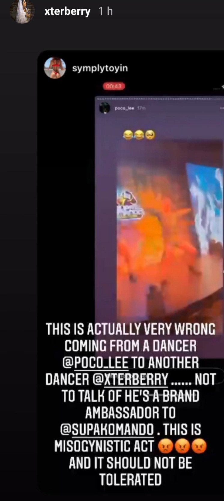 Dancer Pocolee slammed by female dancers for sexualizing one of them during her performance at an event (video)