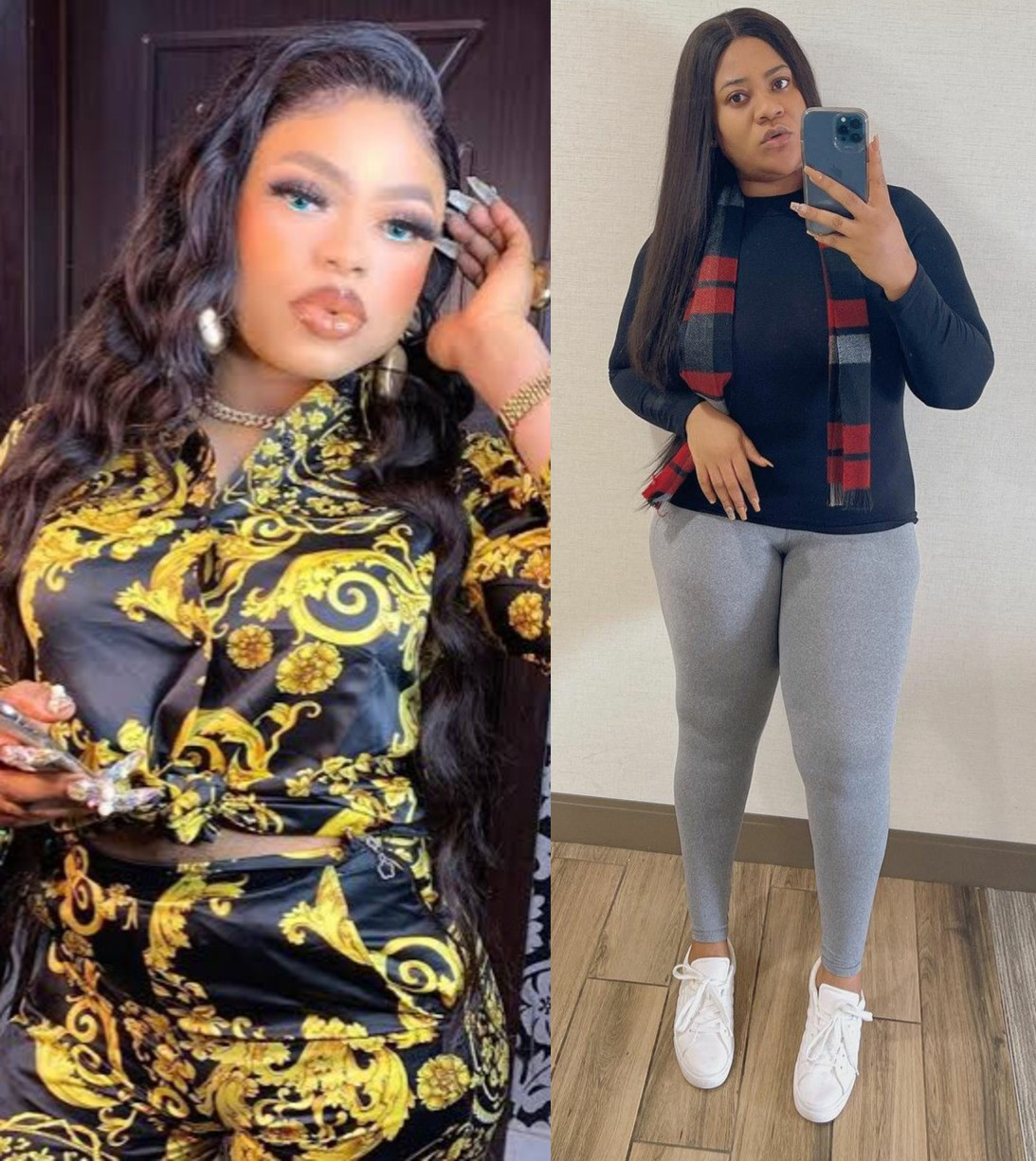 Actress Nkechi Blessing Sunday and cross-dresser Bobrisky reconcile weeks after they fought dirty on social media
