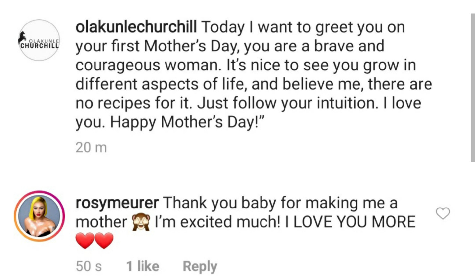 """""""Thank you baby for making me a mother""""- Rosy Meurer tells her hubby, Olakunle Churchill after he wished her a happy mothers day"""