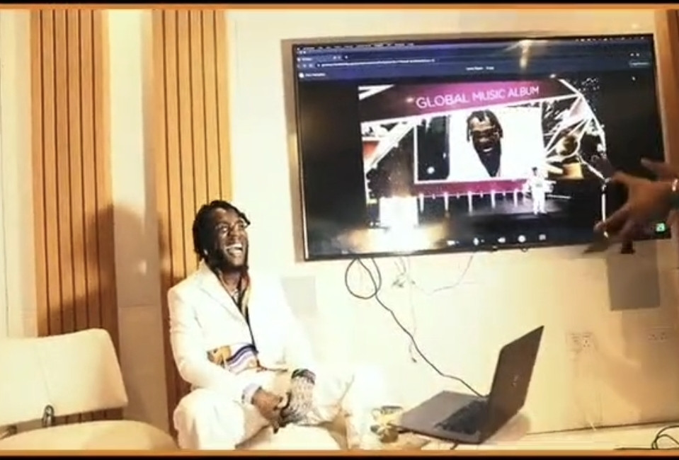 Moment Burna Boy was announced winner of Best Global Music Album at the 2021 Grammys (video)