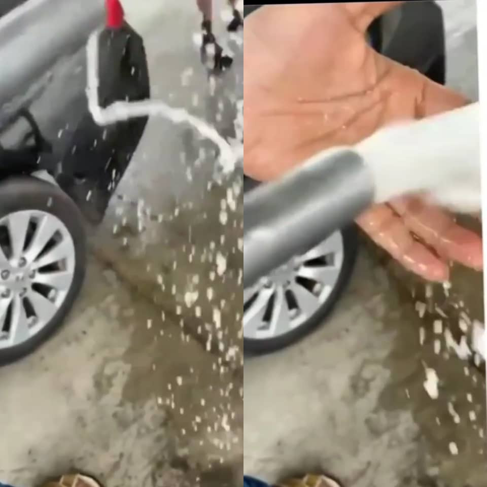 Journalist, Adeola Fayehun raises alarm over filling station that allegedly sells water instead of fuel to unsuspecting motorists (video)