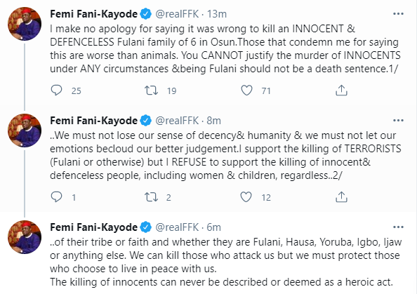 You are worse than animals - FFK slams Nigerians who attacked him for condemning the killing of Fulani family of six in Osun