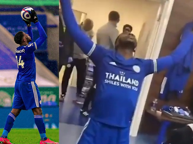 Watch video of Kelechi Iheanacho celebrating the first hat trick of his career with his teammates in the dressing room (video)