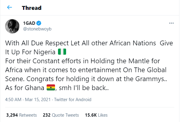 Let all other African Nations give it up for Nigeria for holding it down at the Grammys, as for Ghana, smh - Ghanaian singer, Stonebwoy writes