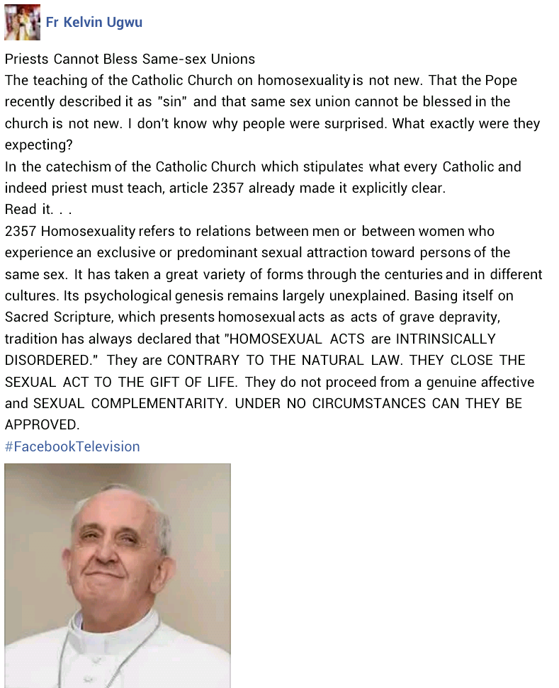 """""""Homosexual acts are contrary to the natural law""""  - Nigerian Catholic priest backs Vatican"""