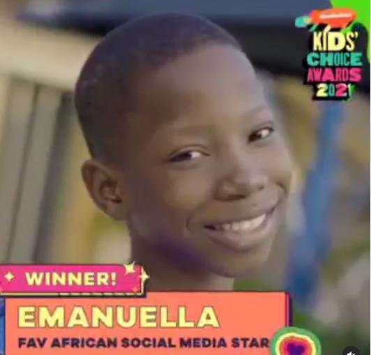 "Comedienne Emmanuella celebrates winning ""Favourite African Social Media Star"" at 2021 Nickelodeon Kids Choice Awards"