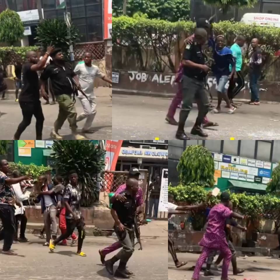 Lagos police reacts to viral video of its officers being assaulted after they were accused of stealing phones in computer village (video)