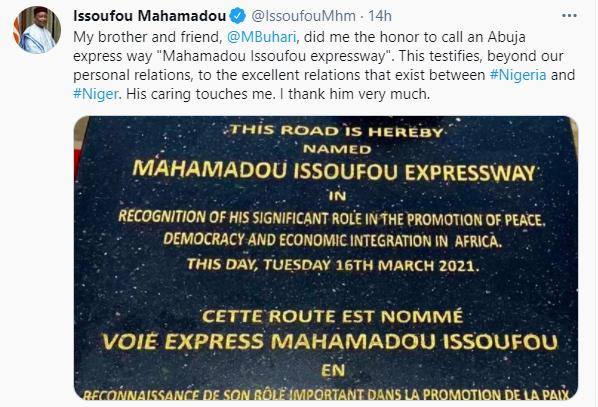 Niger Republic president appreciates President Buhari for renaming an Abuja expressway after him
