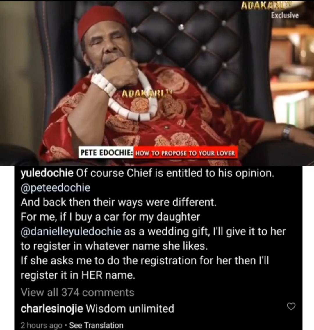 Yul Edochie disagrees with his father Pete Edochie