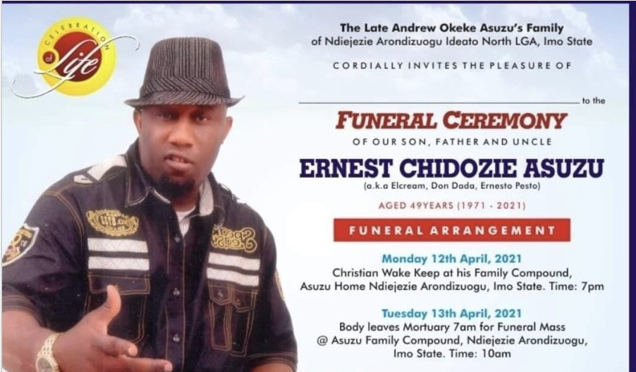 Ernest Asuzu to be buried on April 13