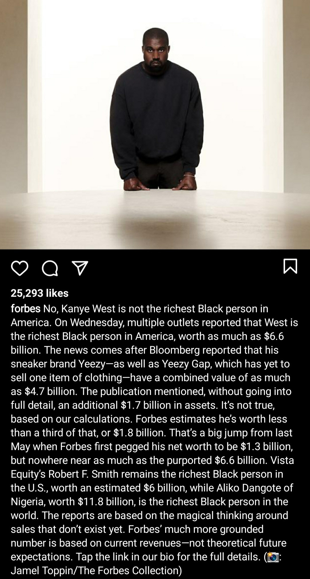 """Kanye West is NOT the richest Black person in America"" - Forbes refutes report Kanye"