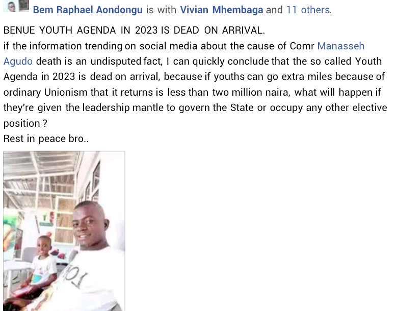 """""""What does it profit you to kill him?"""" - Friends mourn as newly elected president of National Union of Benue State Students dies two weeks after swearing-in"""