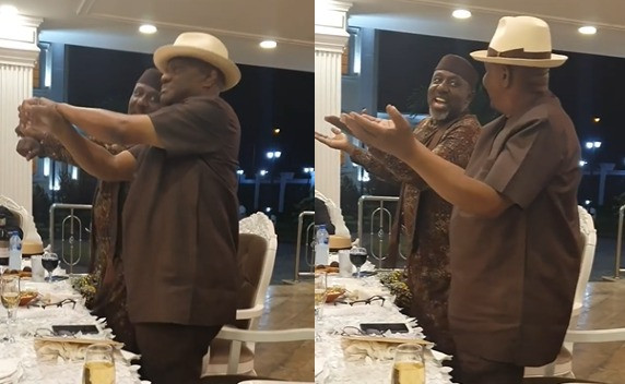 Watch Governor Nyesom Wike and Senator Rochas Okorocha show off their dancing skills at a gathering (video)