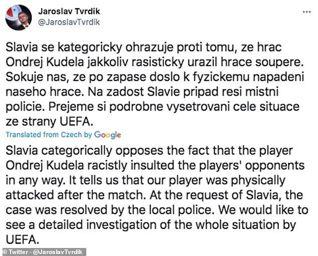 Slavia Prague footballer, Ondrej Kudela