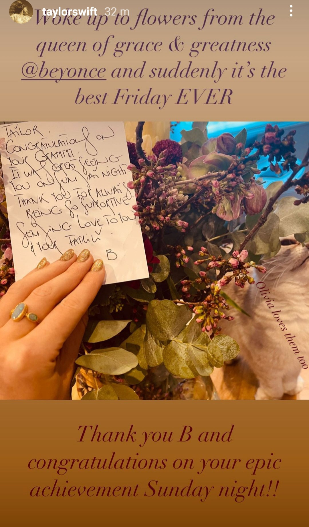 Taylor Swift shows the thoughtful gift and letter Beyonc? sent to her