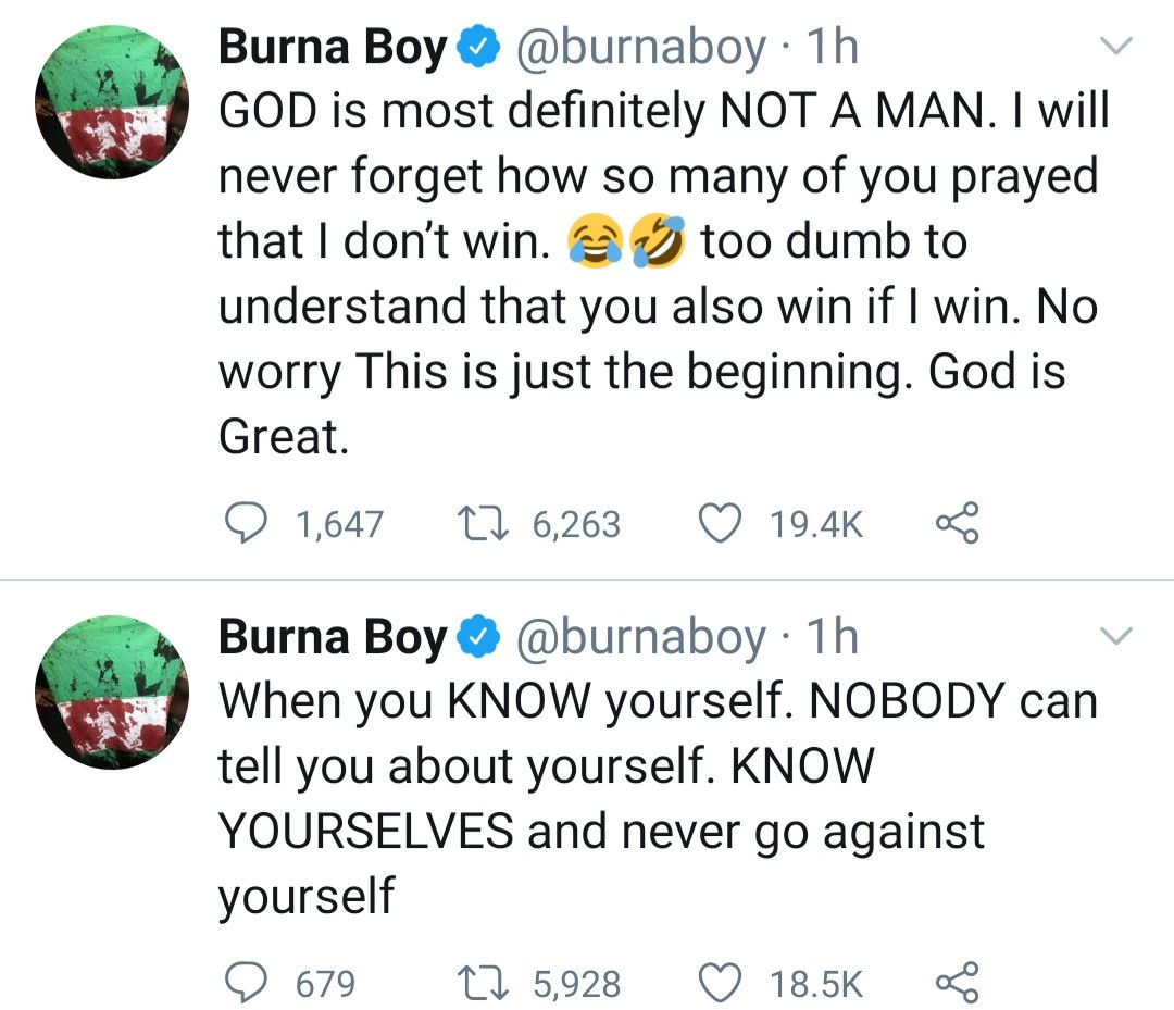 "'ll Never Forget How So Many Of You Prayed That I Don't Win"" Burna Boy Tweets As He Points Out He Won The Grammys ""On His Own"""