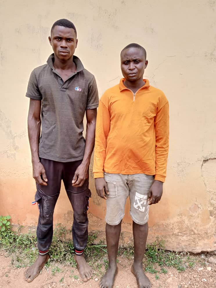 Herbalist and bricklayer arrested for allegedly killing housewife and her four year old son for money ritual in Ogun (photo)