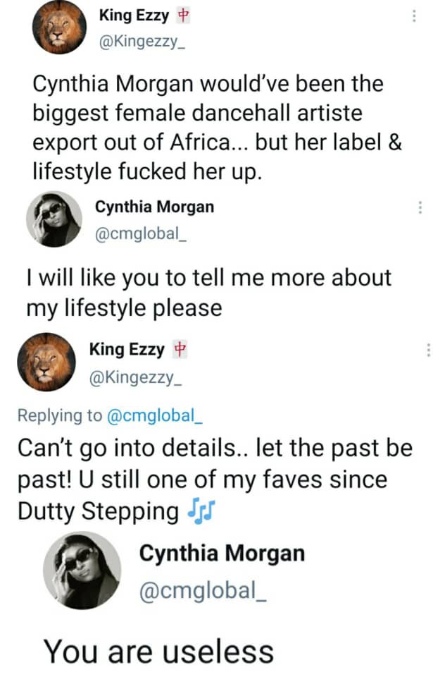 """""""You are useless""""  -Cynthia Morgan blasts follower who claims her lifestyle stunted her growth in the music industry"""