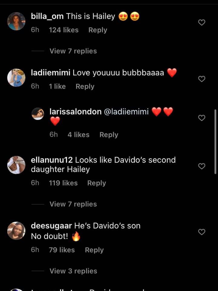 He looks like Davido and Hailey - Nigerians react as Davido?s alleged fourth baby mama, Larissa London unveils her son?s face (video)