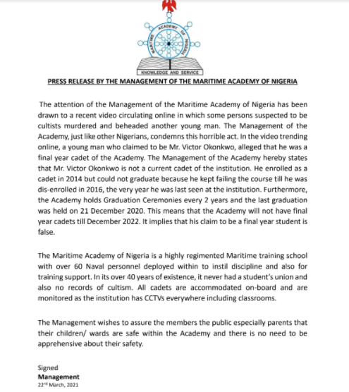 Martime Academy of Nigeria distances self from cultist who claimed to be a final year student of the institution