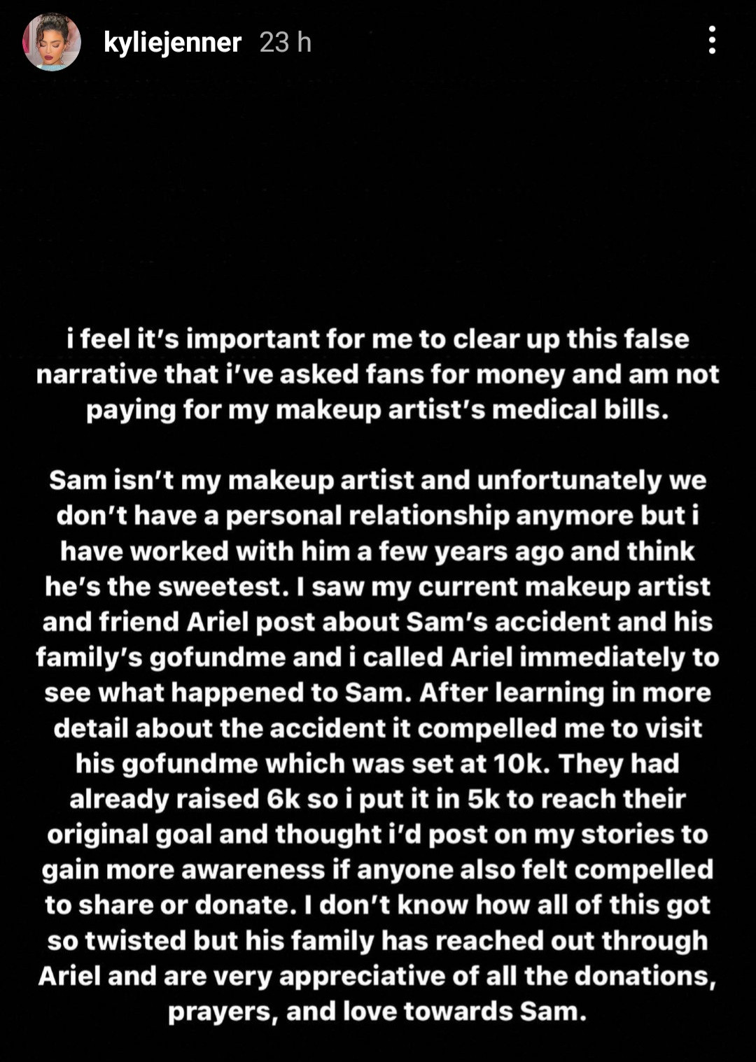 Kylie Jenner responds after she was called out for asking her fans to donate towards makeup artist, Samuel Rauda