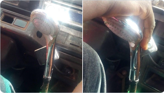 Twitter user expresses shock after seeing a Lagos bus driver use a shower head as gear stick