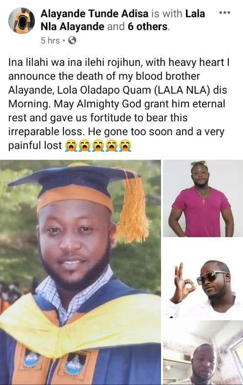 Nigerian Singer Lala dies months after completing his Masters degree