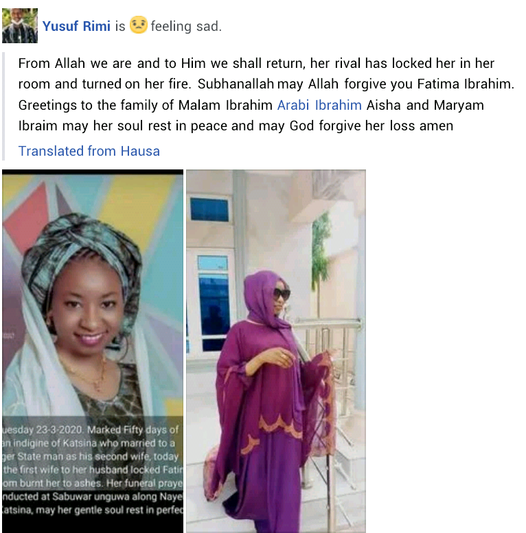 Young woman reportedly burnt to death by jealous co-wife in Niger State seven weeks after her wedding